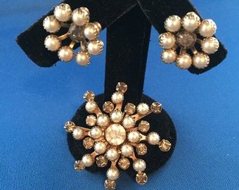 Stunning Vintage Faux Pearl and White and Smokey Grey Rhinestone Convertible Brooch Pin Screw Back Earrings Bridal Gold Tone