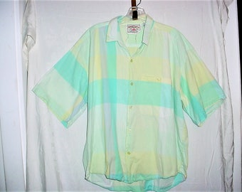 Vintage 80s Mint Green Stripe Short Sleeved Cotton Shirt XL