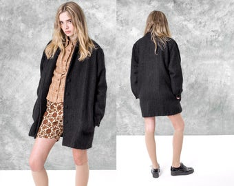 BLACK MOHAIR jacket MINIMAL oversize boxy vintage wool Pockets women / small medium / better Stay together