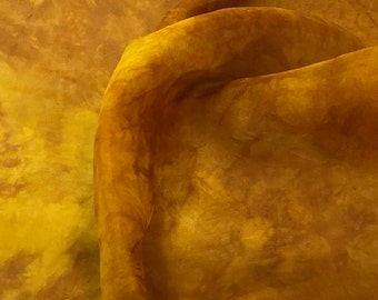 Hand Dyed HONEY MUSTARD YELLOW Silk Organza Fabric - 1 Yard