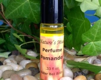 "Perfume ""Pomander"" glass roller ball bottle, vegan, 1/3 fl oz, pure essential oils"