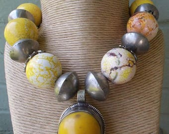 Butterscotch Amber and Old African Silver Necklace