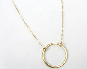 Gold Ring Necklace | Round Washer Pendant Gold | 14K Gold Filled Eternity Ring Necklace | Gift Packaged by Eriadesigns