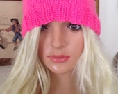 Hand Knit- Pussy-Cat Adult Hat-Colors- Hot Pink-pale Pink- Black-Grey-Red
