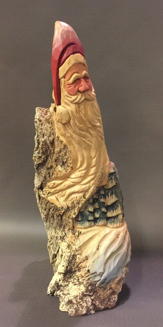 HAND CARVED original very rustic and unique Santa bust from 100 year old Cottonwood Bark.