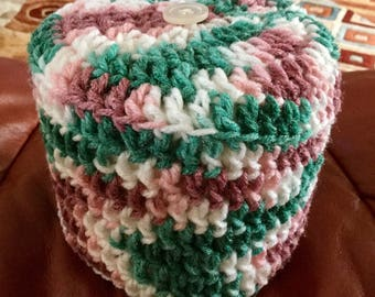Toilet Paper Cover Crochet with Button Accents, Pink, Green, White Yarn