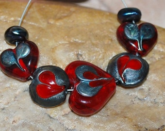 Glass Lampwork Beads, Valentines Red Hearts, Metallic Hearts, SRA #333 by CC Design