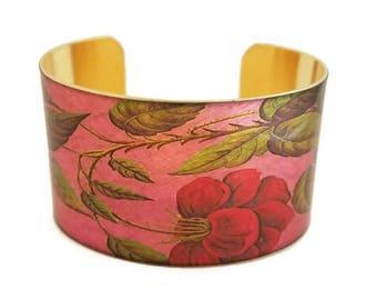 Pink Red Rose adjustable cuff bracelet Vintage style brass Gifts for her aluminum