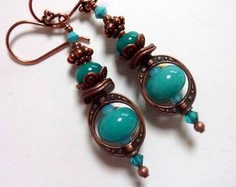 Aqua Teal Copper Earrings, Copper Earwires, Handmade Lampwork