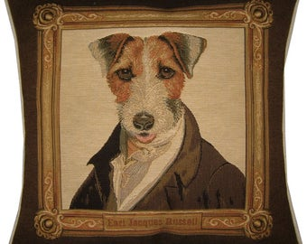 Thierry Poncelet Fox Terrier Brown Frame Woven Tapestry Cushion Cover Sham