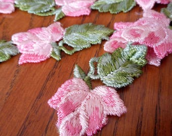 Set of 12 VINTAGE Embroidered Rose Flower Sewing APPLIQUE Trims