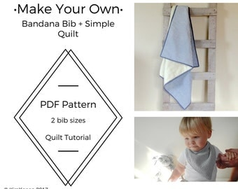 Quilt Tutorial and Bandana Bib Pattern PDF | Simple Easy Quilt | DIY Project | Beginner Sewing Project | Learn to Quilt | How to Quilt