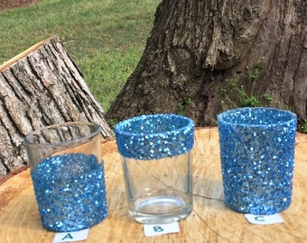 12 Glitter Votive Candle Holders Light Blue Mermaid Beach Ocean PastelWedding Party Favors Table Decoration Centerpiece Reception Tealight