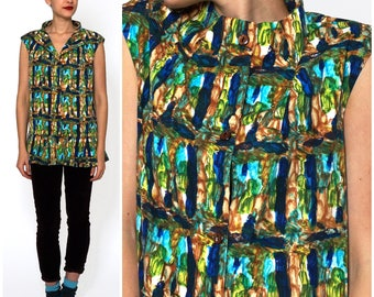 Vintage 60's/70's Blue & Green Tropical Hawaiian Tunic Top with Ruffle Hem by Trulo | Medium/Large