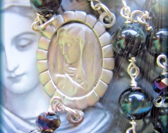 Wire Wrapped Rosary with Blue Tiger Eye Beads Our Lady of Sorrows