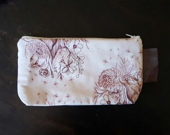 Pretty Padded Zipper Bag Pouch Purple Floral Medium Size
