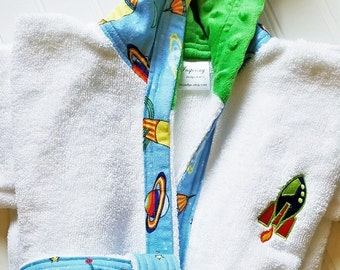 EMBROIDERY-Child-Robes-Boys-Boy-Robe-Space-Rocket-Ship-Sweet Dreams-Terry-Bathrobes-Sleepwear-Hooded-Terry-Cover-Up-Swim-Pool-Ready-To-Ship