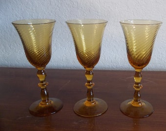 Set of 3 Vintage Amber Glass Swirl Sherry Glasses