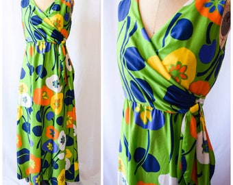 Sonya | Vintage Late 1960's Early 70's Maxi Dress Scandinavian Large Floral Matte Jersey Wrap Front Bodice with Side Tie Multi Color Size M