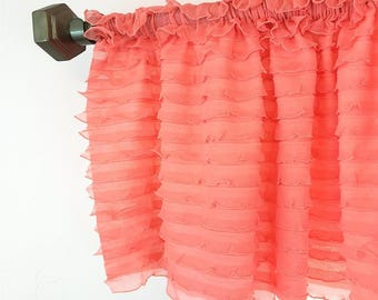 Light Coral Valance - Light Coral Nursery - Coral Ruffle Curtain Window Treatments - Extra Wide Valance- Coral Curtain Nursery Sheer Valance