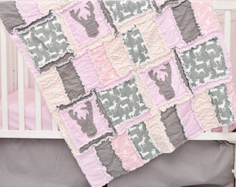 Woodland Bedding - Gray / Light Pink Bedding Hunting Nursery - Bumperless Bedding / Crib Quilt / Sheet / Skirt- Baby Girl Nursery Crib Set
