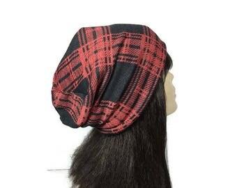 Red and Black Buffalo Check Lightweight Hat Buffalo Plaid Lightweight Slouchy Hat Men's Lumberjack Hat All Seasons Man's Buffalo Plaid Hat