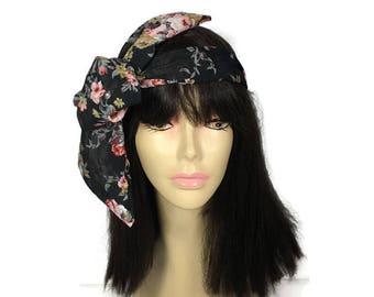 Black Floral Chiffon Headscarf Black Floral Chiffon Hairscarf Chiffon Turban Headscarf Chiffon Hairscarves Summer Headscarf Summer Hairscarf