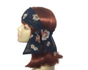 Blue and Pink Headscarf Navy Blue Chiffon Floral Headscarves Navy and Pink Chiffon Headscarves Navy Blue Headscarves Summer Headscarves