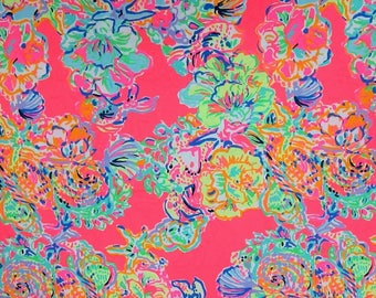 Dog Leash made with Lilly Pulitzer fabric - Blue & Pink Small/Large Sizes All Breeds Summer 2017 - 'Island Seacret'