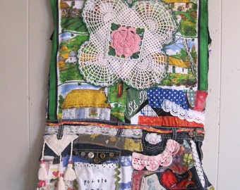 Fabric Collage Folk Art Clothing - IRISH LASS Festival Dress Denim Apron - Patchwork Quilt Scraps Altered Couture - mybonny