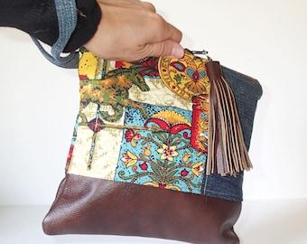 Clutch made of repurposed fabric - Denim Leather Primitive Horse Print - leather tassel zipper pull