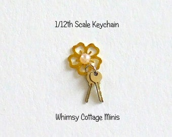 Dollhouse Miniature Keys Keychain, Metal Flower with Faux Pearl Center  - 1/12th Scale
