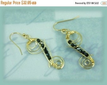 ON SALE Black Crystal with 14K Gold-filled Wire Wrap Earrings