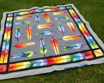 Rainbow Feather Lap Quilt/Blanket