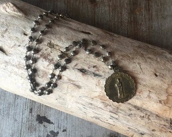 VALENTINES SALE Vintage Rosary Inspried Large Religious Medal Necklace on Sterling with faceted pyrite stones, Gifts under 75, Gifts for Her