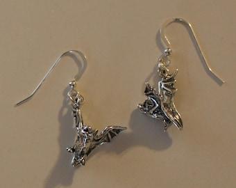 Sterling Silver 3D BAT Earrings - Wildlife