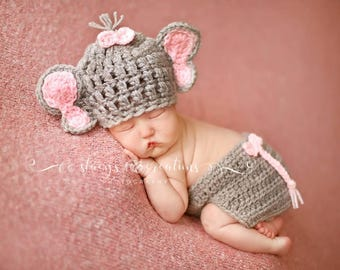 Baby Girl Elephant Set, Baby Elephant Costume, Baby Elephant Hat, Baby Girl Hat, Baby Diaper Cover Set, Newborn Elephant Hat, Baby Hat