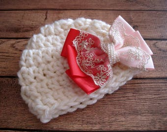 Newborn Girl Hat, Infant Girl Hat, Baby Girl Beanie, Baby Girl Hat, Crochet Baby Hat, Homecoming Hat, Hat for Baby Girl, Crochet Newborn Hat