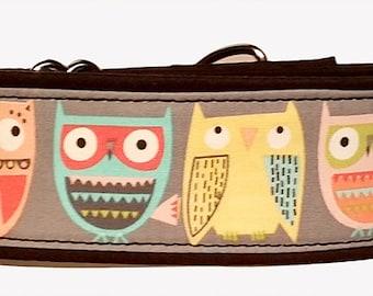 "Pastel Owls  2"" Martingale Collar-"