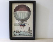 RESERVED for STELLA  Antique Balloon.  Framed aquatint print in chunky wood frame.