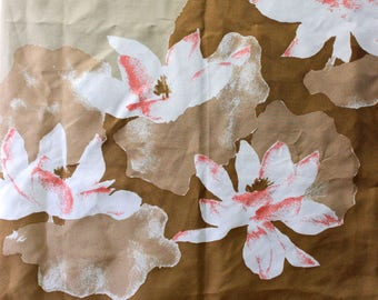 Vintage Vera Scarf. Pink and white flowers on tan, vintage 1970s square.