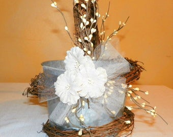 """Rustic Grapevine Flower Girl Basket 6"""" High by 7"""" Wide Metal Bucket with Burlap Flowers, Pip Berries and Grapevine"""