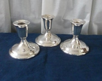 3 Vintage Silver Candle Holders Silver Plate Candlesticks Silver Candleholders Wedding Decorations Table Decor French Country Lighting  Set