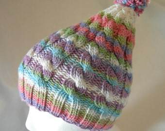 Super Soft Squishy Cabled Elf Hat merino stripes hand knit hand dyed yarn winter hat colorful rainbow