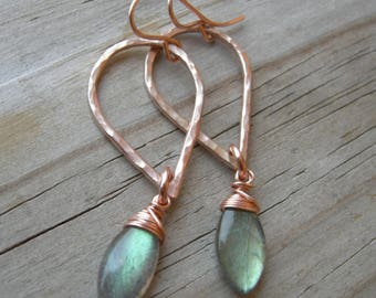Labradorite Rose Gold Teardrop Gemstone Earrings
