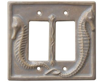 Seahorses Ceramic Switch Plate- Double Rocker Decora in Oyster glaze