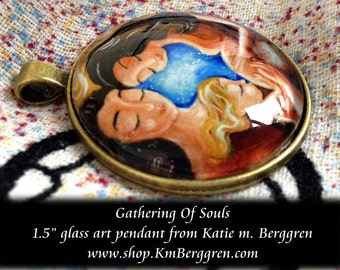 Gathering Of Souls ~ 1.5 inch round glass art pendant, mom with sleeping baby on shoulder