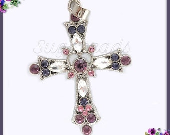 1 Silver Crystal Cross Pendant, Silver Cross with Rhinestones PS214