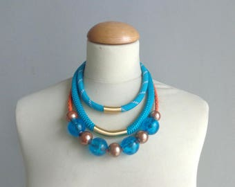Chunky statement Tribal turquoise necklace