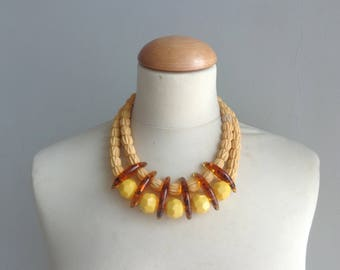 Yellow brown bib necklace, colourful chunky necklace, modern tribal necklace, statement yellow brown necklace
